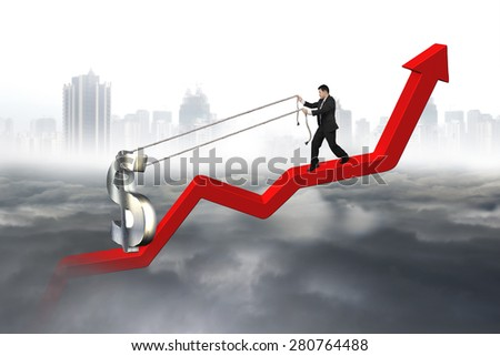 Business man pulling 3D dollar sign upward on red trend line with city landscape gray cloudscape background - stock photo