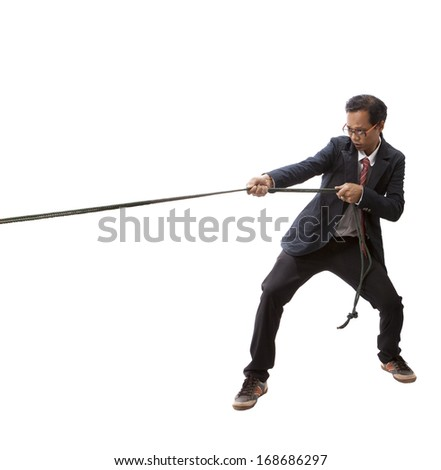 business man pulling nylon rope isolated white background