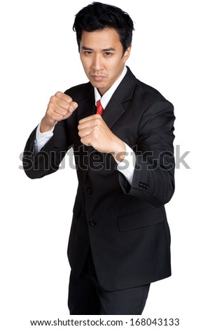 business man punch or fight