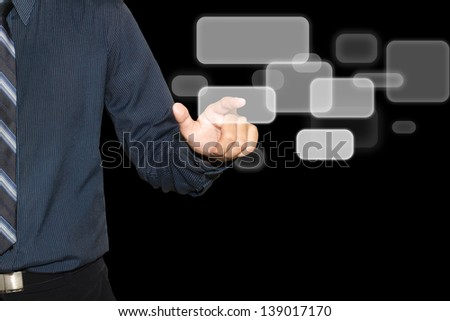 Business man push the button on black  digital background. - stock photo