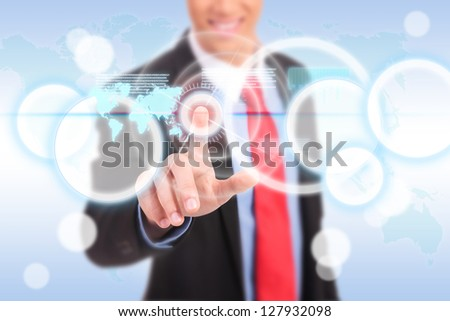 business man pushing and making a choice on a futuristic interface