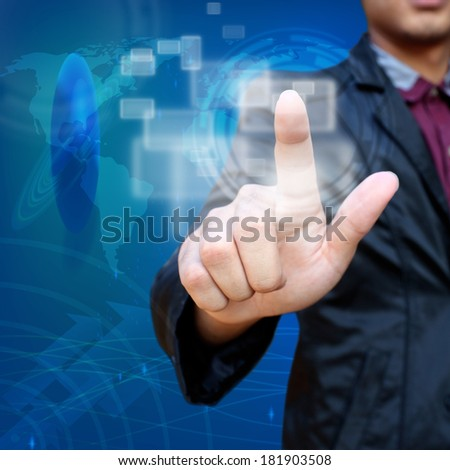 Business man pushing creative social network button background - stock photo