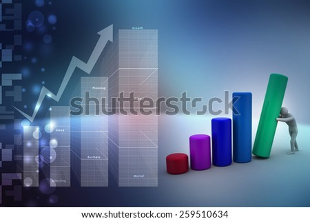 Business man pushing graph chart