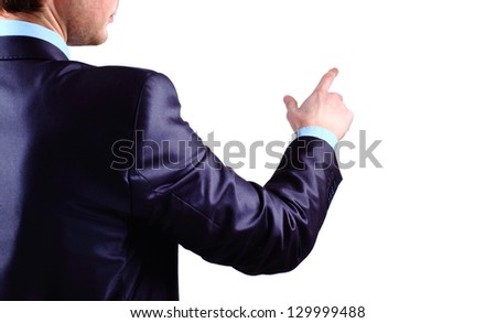 Business Man pushing on a touch screen interface - stock photo