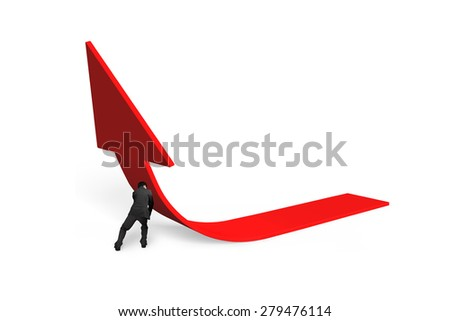 Business man pushing red trend 3D arrow upward isolated on white background
