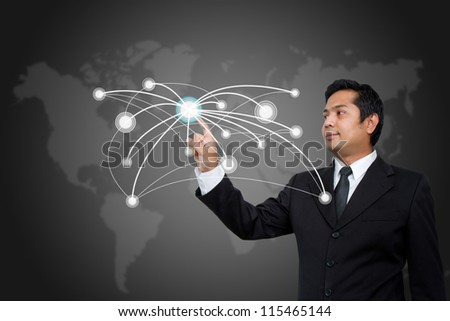 business man  pushing social network structure