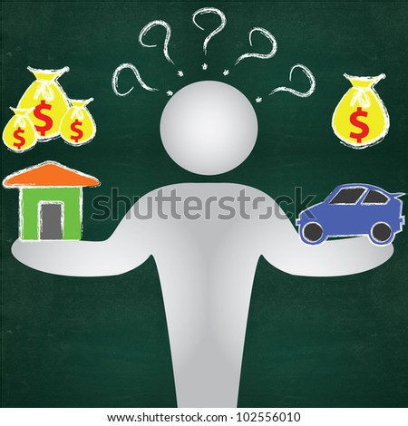 Business man, questions, house, car and dollars sign on blackboard background - stock photo
