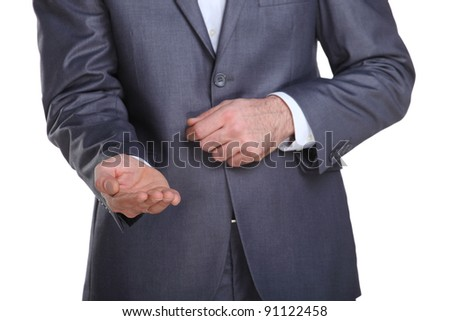 Business man reaching with his hand like he is begging for some money