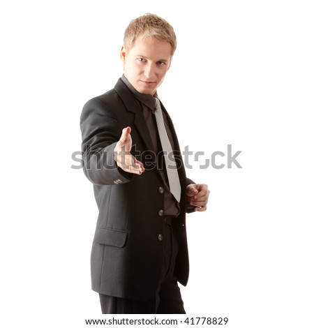 Business man ready to set a deal over white background - stock photo