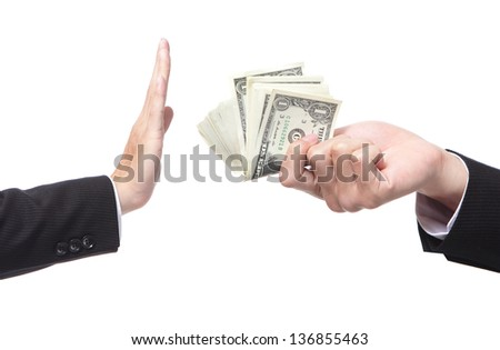 Business man refusing money offered by business man isolated on white