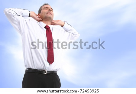 business man relaxing blue background