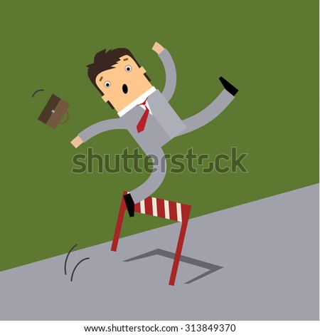 Business man running and jumping over the hurdle but failed to cross over it. Business concept in failure or unable to overcome obstacle or problem. - stock photo