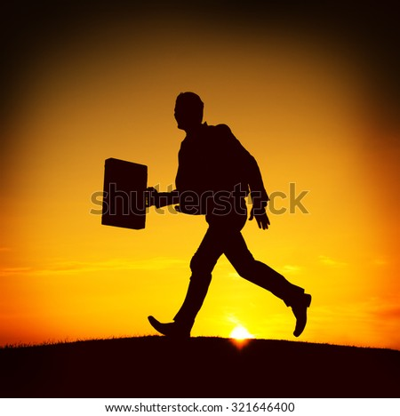 Business man Running Commuter Late Hurry Concept - stock photo