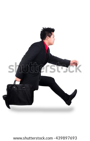 business man running on isolated white background, full length, asian model