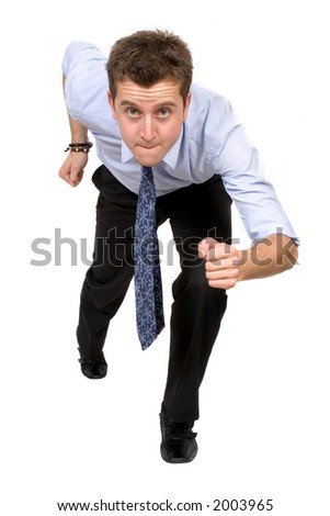 business man running over a white background