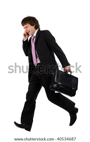 Business man running with a briefcase isolated over white background