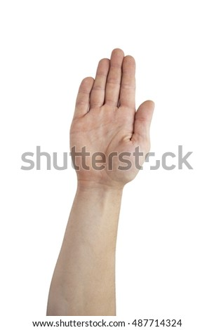 business man's hand make stop symbol isolated on white