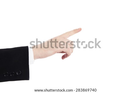 Business man's hand pointing isolated on white