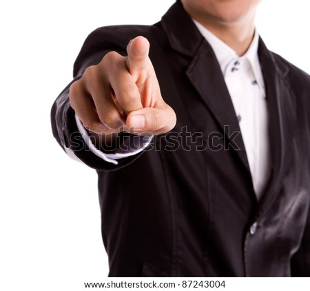 Business man's hand pointing isolated on white - stock photo