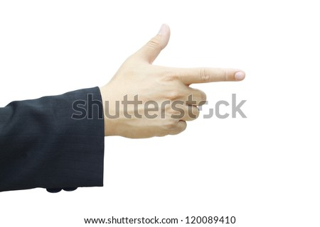 Business man's hand pointing right isolated on white background.