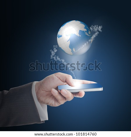 Business man's hand touching on smart phone with glowing digital wire globe with incoming mail icons - stock photo