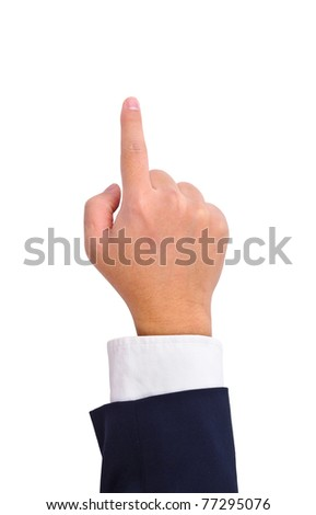 Business man's hand touching screen  isolated on white - stock photo