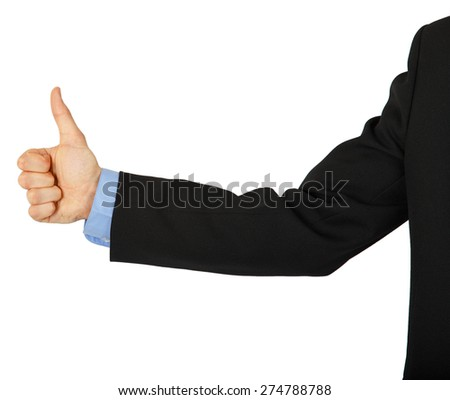 Business man's hand with a thumbs up sign on a white background - stock photo