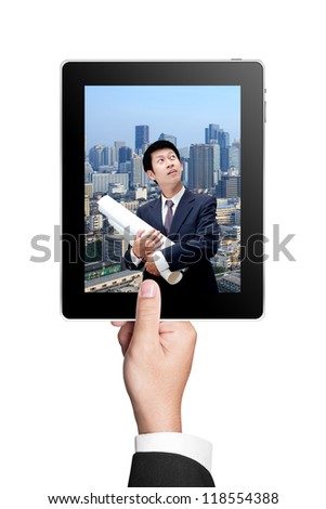 Business Man's hands holding a tablet and showing his construction work