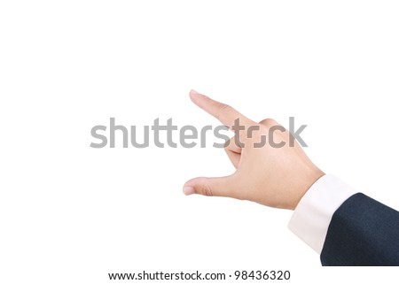 Business man's use his finger to hold something between thumb and forefinger isolated on white background