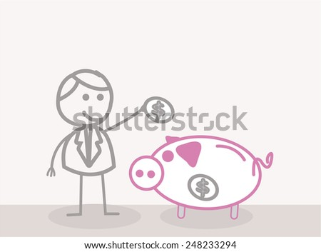 Business Man Save Money - stock photo