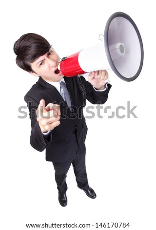 Business man screaming loudly in a megaphone isolated on white background,  high angle view, model is a asian male