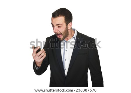 business man screaming on cell mobile phone,  - stock photo