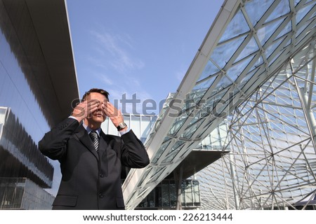 business man see no evil hear no evil speak, three monkeys concept - stock photo