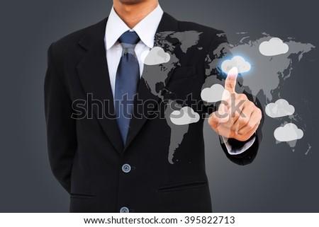 Business man select cloud computing.