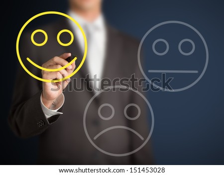 business man select happy on satisfaction evaluation - stock photo