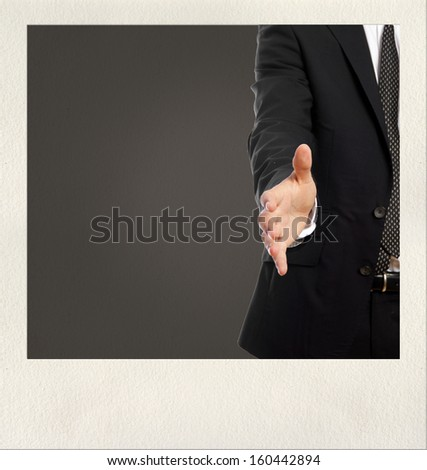 business man shaking hand gesture on photo frame