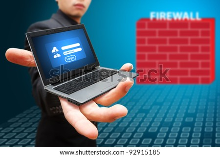 Business man show log in icon to firewall protected