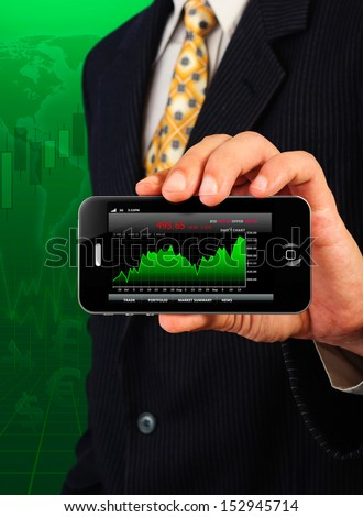 business man show stock chart on smart phone display - stock photo