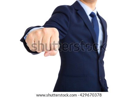 Business man showing a punch