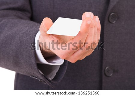 Business man showing blank card. - stock photo