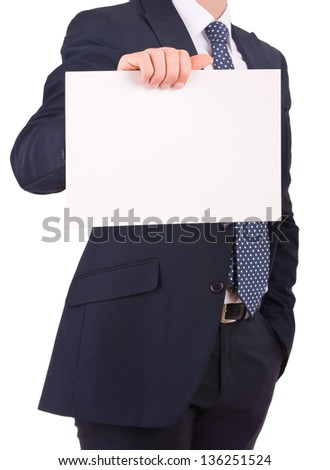 Business man showing blank sign. - stock photo