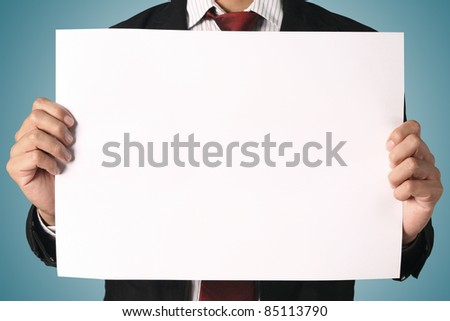 business man showing blank signboard, - stock photo