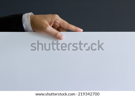 Business man showing blank text, signboard - stock photo