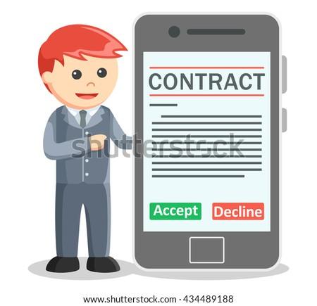 Business man showing contract digital signatured on smartphone