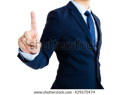 Business man showing finger point up