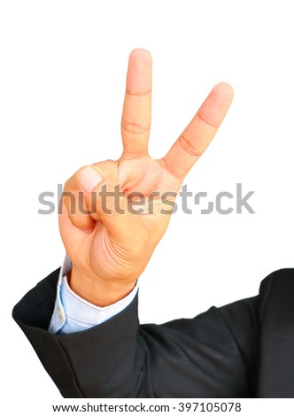 Business man showing gesture two fingers on white background. - stock photo