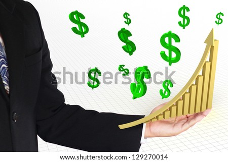 business man showing golden rise arrow with graph and green dollar sign