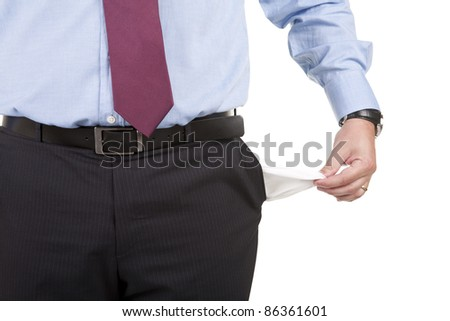 business man showing his empty pocket - stock photo