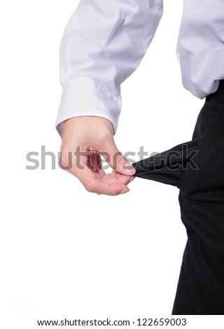 business man showing his empty pockets demonstrating he has no money isolated on white background, asian male model