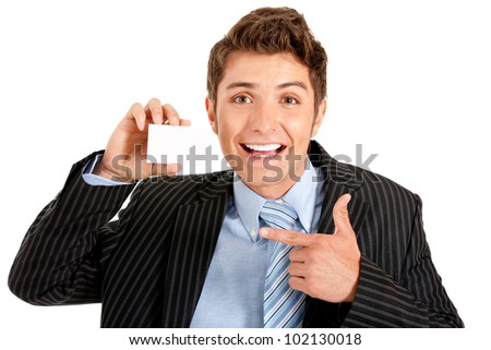 Business man showing his personal contact card - isolated over white